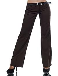 L293 Damen Business Stoffhose Elegante Bootcut Hose Classic Schlaghose + Gürtel