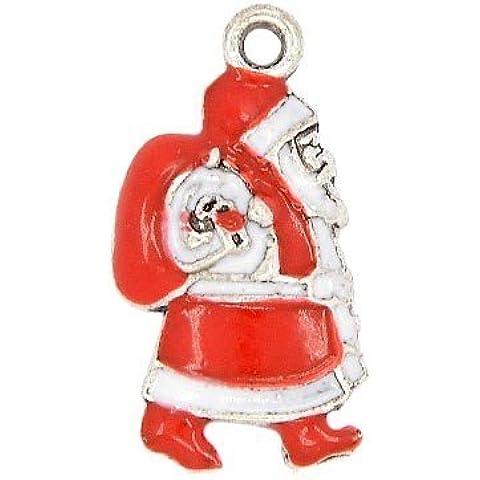 Pacco 3 x Rosso/Bianco Smalto 23mm Ciondoli Pendente (Babbo Natale Santa)