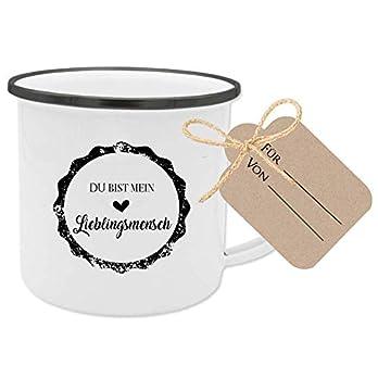 """Besonderes Geschenk – Tasse""""Du bist mein Lieblingsmensch"""" mit Anhänger zum Personalisieren"""