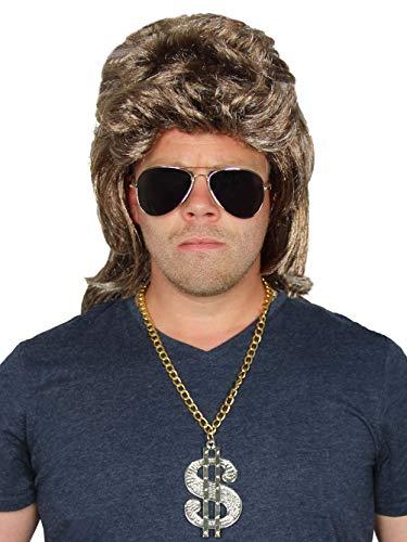 Bad Taste 3 Teile Set - Blonde Vokuhila Perücke + Sonnenbrille + Dollar Goldkette - für Herren zum 80er Jahre Männer Kostüm Fasching Karneval Party Herrenperücke graublond (Bad Taste Party Kostüm)