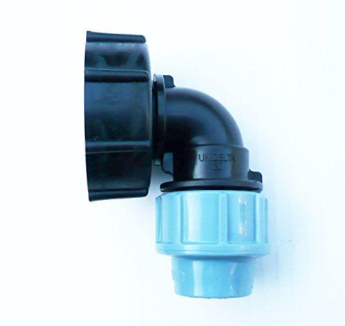 inscale IBC Adaptateur (5,1 cm S60 x 6 filetage épais) à 20 mm coudé irrigation mdpe Raccord à compression. Nb couleur peut varier de l'image.