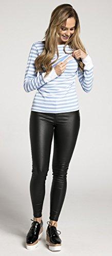 Happy Mama Damen Umstands Stillzeit T-Shirt Lagendesign. Streifen Details. 101p Blau