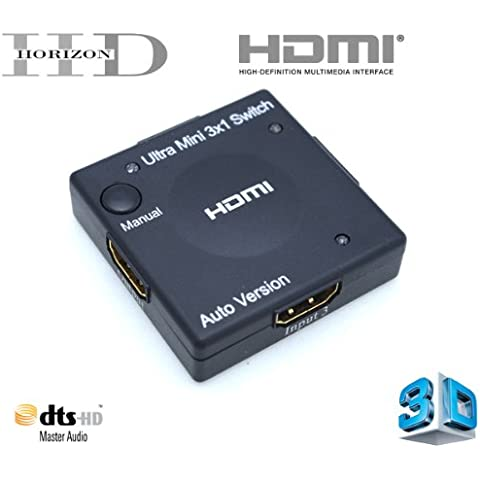 Horizon HD - ULTRA Mini Switch - Interruttore HDMI - 3 porte (compatibile 3D) - HUB HDMI 3x1 - Full HD 1080p - HDMI v1.3b - segnale audio HD (Dolby Digital, DTS, 5.1, ecc.) - DVD / Blu-Ray / Xbox 360 / PS3 / Full HD LCD / al plasma e LED