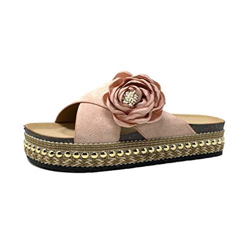 Angkorly - scarpe moda mules infradito folk/etnico infradito suola grande donna arco perla intrecciato tacco tacco piatto 4 cm - rosa 2 s65-1 t 41