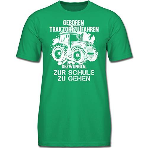 Fahrzeuge Kind - Geboren um Traktor zu Fahren - 128 (7-8 Jahre) - Grün - F130K - Jungen Kinder T-Shirt