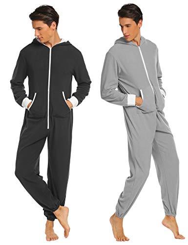 Jumpsuit Herren Schlafanzug Jogger Jogging Anzug Trainingsanzug Overall Einteiler Schlafoverall Langarm Pyjama mit Kapuze Schwarz Grau (S, Schwarz)