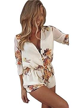 LvRao Mujeres Cuello en V verano Casual flor impresión Monos Verano Pantalón Corto Jumpsuit Playsuit