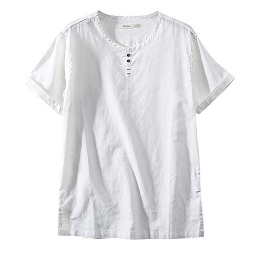 Fenverk Herren 100% Leinen Kurzarm Hemd Sommerhemd V-Neck Freizeit Leinenhemd KöRperbetont Slim Fit Leicht Tailliert Henley Shirt Freizeithemden(Weiß S,XXXXL)