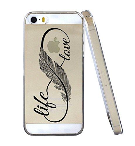 iPhone 5 5S SE Coque , YIGA Pinguin Noir Blanc Bleu Transparent 3D Crystal TPU Silicone Doux TPU Case Cover Housse Etui pour Apple iPhone 5 5S / iPhone SE Girl Back