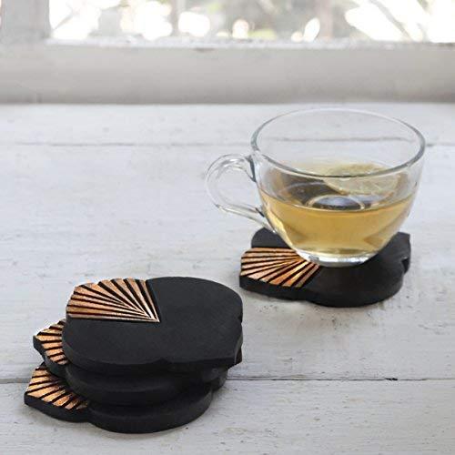 Christmas Gifts Verkauf Rustikal Holz Bar Untersetzer für Drink Set von 4Tee Kaffee Tasse Untersetzer Tabletop-Esszimmer Zubehör Home Decor Design4 (Rustikal-media-möbel)