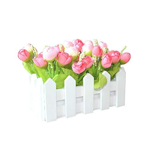FEIDA Blumentopf 1 Set, weißer Holzzaun künstliche Blumen-Halter für Haus Garten Dekoration
