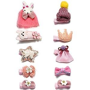 Onnea 10 Stück Haarspangen für Mädchen Rosa Haarklammer Hase Rettich Rock Bowknot Krone Katze Herz Star Hut
