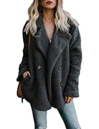 Yidarton Femme Manteau Manche Longue Streetwear Jacket Cardigan Mode Hiver Chaud Peluche Blouson