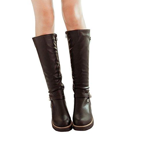ENMAYER Femmes PU Matériau Boucle Ronde Toe Zipper Flat avec Bottes à fourrure hivernale Noir