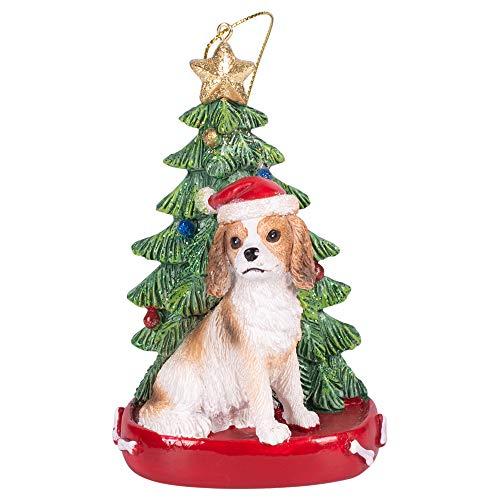 Weihnachtsdekoration, Weihnachtsmannhund, Kunstharz, 10,2 cm 4 inch Cavalier King Charles -