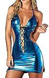 Flydo Wetlook Dessous Body Minikleid Rückenfrei Lackleder Erotik Damen Body Clubwear Party Dress Stripper Bodycon Sexy Kleider Sexy aushöhlen Clubwear Unterwäsche