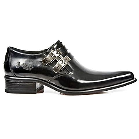 NewRock New Rock 2246 - S20 noir intelligent en cuir verni Ouest boucle en acier Hommes chaussures 44