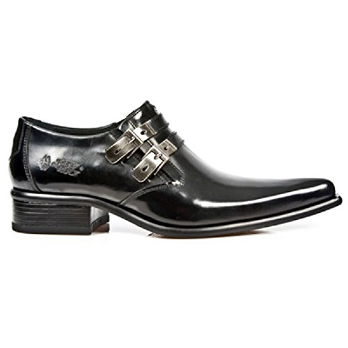 NewRock New Rock 2246-S20 Schwarz Leder West Stehlen Schnalle Schuhe 44