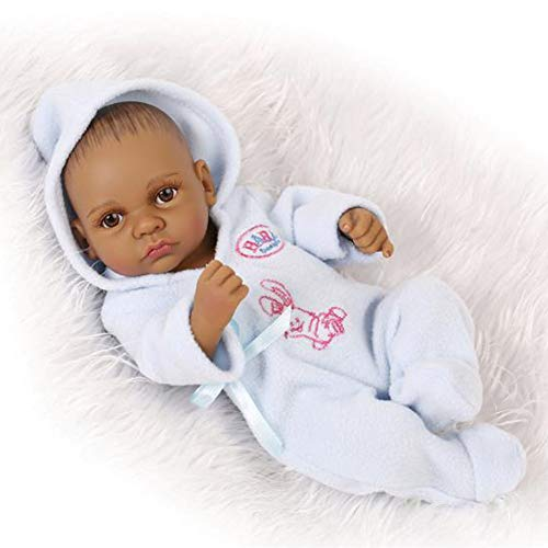 FEIFEIJ True Looking Full Vinyl Silicone Body Real Touch Baby Lifelike Reborn Dolls Realistic Newborn Baby Doll Black Ethnic Sleeping Girl Native Indian Style