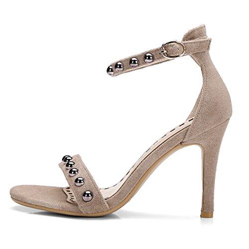 YE Damen Knöchelriemchen Sandalen Offene Stiletto High Heels mit Schnalle und Nieten 9cm Absatz Elegant Schuhe Beige