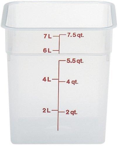 Cambro 8SFSPP190 Polypropylene CamSquares Food Storage Container, 8-Quart, Translucent by Cambro -