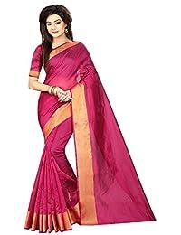 Indian Fashionista Plain Cotton Saree With Blouse Piece (Ethnic Party Wear SareeFor Women)