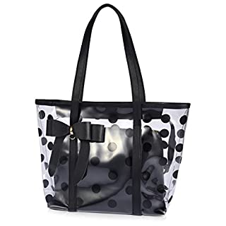 ABLE Women's Clear Tote Bags Multi-Use Shoulder Handbag Beach Shopping Bag (01-black)