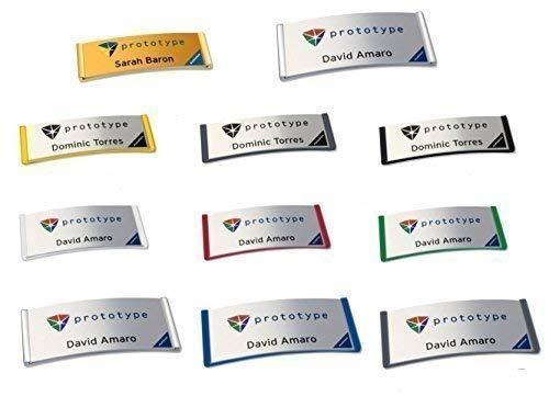 Lot de 10 badges porte-nom en plastique avec aimant-aiguille individuelle ou kombiclip, logo impression à votre logo, einzelnamen personnalisé, et badges aimantée pour personnaliser avec votre namensschildchen avec logo aimant, jaune, 68 x 22 mm