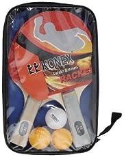 HOMMER Unisex Konex Wood Table Tennis Racquet Set (Multicolour, TTS-001)