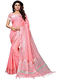 AKHILAM Women's Embellished Linen Saree with Unstitched Blouse Piece(Pink_LCRYFC32D)