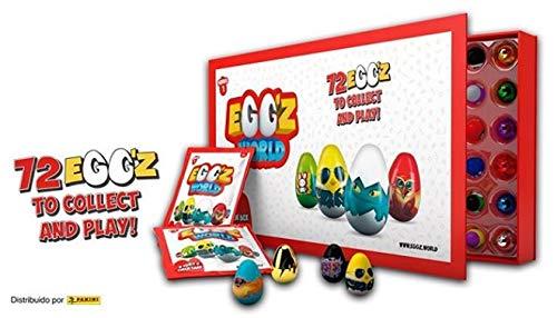 Caja coleccionista donde podrás guardar todos tus huevos de la colección Egg'z World. En el interior encontrarás 2 sobres sorpresa de la colección, en los que encontrarás 3 Egg'z regulares y uno dorado. Recomendado a partir de 4 años.