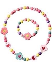 BESTOYARD Collar de dibujos animados coloridas flores en forma de corazón pulsera collar conjunto de joyas para niños niñas