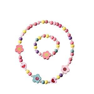 BESTOYARD Halskette Cartoon Bunte Blumen Herzform Armband Halskette Schmuck-Set für Kinder Mädchen
