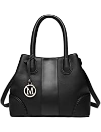 Miss Lulu Leather Look V-Shape Shoulder Handbag Elegant Design Top Handle Fashion  Handbags for be2ef045883fd