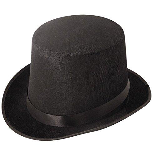 Top Hat Black Velour - Black Top Hats Kostüm