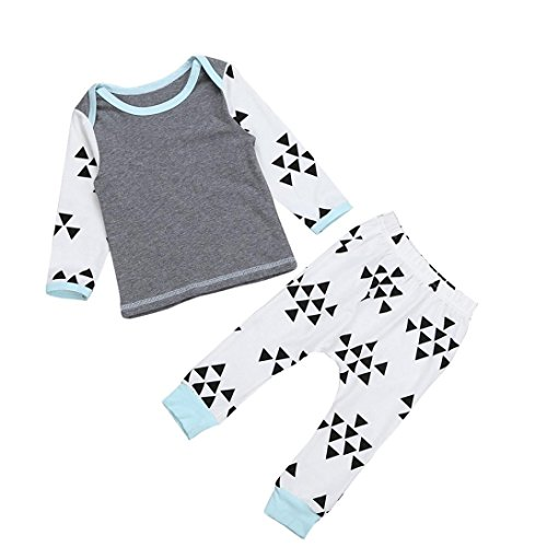 Bekleidung Longra Neugeborene Baby gedruckt lange Langarm-Tops + Long Pants Outfits Set Kleidung (Furz Kostüme)
