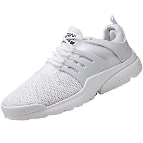 Mode Schuhe Herren, Daily Fitnessschuhe Laufschuhe Atmungsaktiv Turnschuhe Schnürer Sportschuhe Sneaker Mode Beathable Mesh Lace-up Freizeitschuhe (EU:45/CN:46, Weiß)
