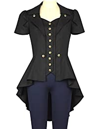 Black Steampunk Gothic Tail Vamp Long Military Metal Button Cotton Shirt Top