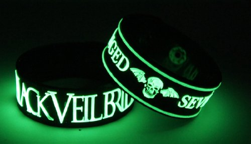 Black Veil Brides Avenged Sevenfold 2pcs NEU. Glow In The Dark Wristband 2 X 1 G49