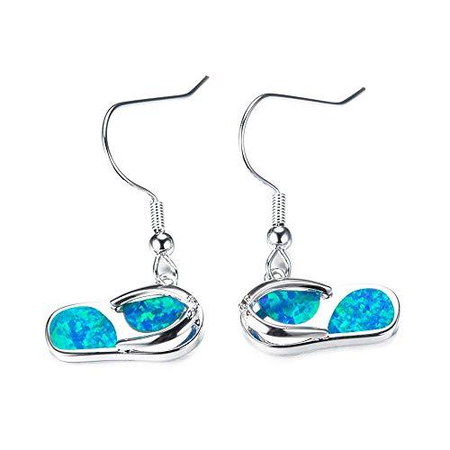 Purmy 925er Sterling Silber Frauen Tropfenohrringe mit Blauer Opal,Flip Flops Shape Damenstil