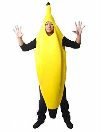 [Interessante Bananaman Halloween Cosplay fuer Erwachsene (L ist als die Groesse XL)] Banane Banane Anzug Ereignis Party Stage Entertainment Festival Werbe Kostuem Kostuem-Abendkleid fuer gelb Halloween Bananenfrucht Maenner Frauen Unisex ()