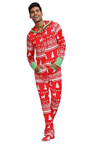Herren Baumwolle Schlafoverall Jumpsuit Onesie Schlafanzug für Winter Weihnachten Pyjamas Schlafanzug Rot XL