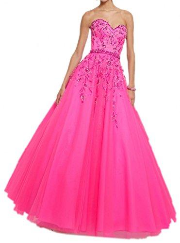 Milano Bride Pink Langes Abendkleider Spitze Promkleider Abschlussballkleider mit Strasse Ballkleider 2017 Neu Pink
