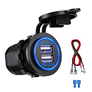 SONRU Dual USB Motorcycle USB Charger Socket 12V, Car USB Power Outlet 5V/4.2A Fast Charge, Waterproof and Dustproof, for 12V~24V Vehicles Car Boat Motorcycle SUV Truck Caravan Marine