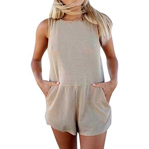 Frauen Ärmellose Baumwolle und Leinen Jumpsuit,Zolimx Frauen arbeiten reizvolles Normallack-Bogen-dünnes Overall-Set um -