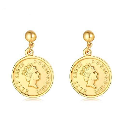 ZHOUYF Ohrringe Ohrstecker Ohrhänger Frauen Gold Münze Ohrringe Queen Elizabeth Ohrring Dollar Ohrringe Edelstahl Geschenk Für Sie