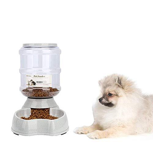 PLUY Automatischer Futterspender,Haustier Futterautomat,Futter und Wasserspender,Hund Schüssel,Automatik für Hund Katze im Set,jeweils 3.8 L,feedercombo - 1 Gallone Licht