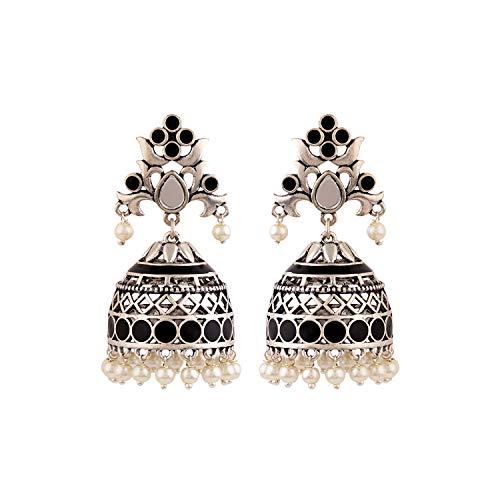 Voylla Jhumki Earrings for Women (Silver)(8907617887821)