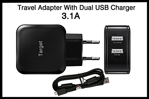 Amore Xolo Q2500 Charger 3.1AMP with Dual Usb Port Compatible Charger  available at amazon for Rs.299