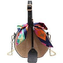 91d44807a Luckycat Bolso bandolera de paja tejido redondo hecho a mano para playa  bolso bandolera para mujer